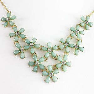 Cascading flowers with crystals statement necklace